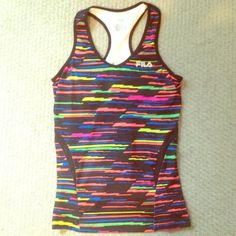 Fun Colorful Workout Top by FILA This top is too fun!!! Has an attached sports bra with no padding! FILA Tops