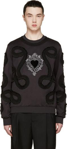 Dolce & Gabbana Black Embroidered Sweatshirt