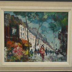 Schilderij, boulevard in Parijs, gesigneerd -  Pierre, olieverf op doek