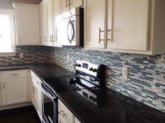 Kitchen Backsplash featuring Bliss Waterfall Linear Mosaic from SouthCypress.com