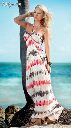 Pretty print! This adorable, tie dye print maxi features a classic bandeau-style silhouette with ruched bustline with tie accent, scrunch stitched bodice and flowing, full-length skirted bottom. Sale Price:    $67.95