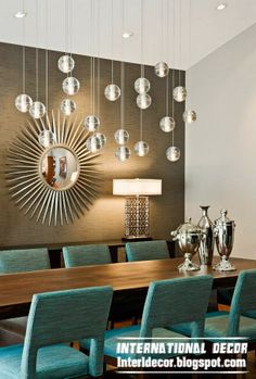 chic wall mirror art deco style in modern interior large dining room - Dining Room Light Fixtures Modern