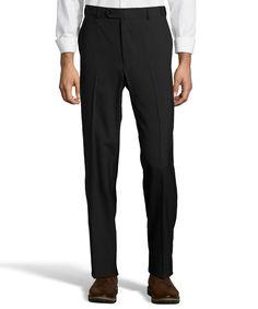 55% Polyester 45% Worsted Wool Washable trouser. Black. Flatfront, 1/8 top pocket, hidden elastic side tab. G771072-G121 BLACK EXP FLAT
