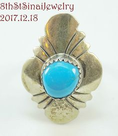 HandCrafted Southwestern Signed EDE Sterling Silver 925 Turquoise Ring Size 6.5 #EDE #Southwestern