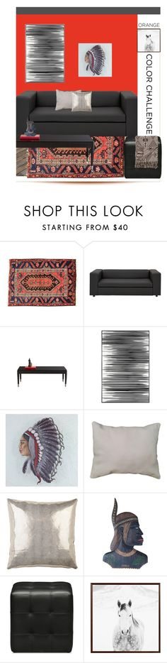 """Color Challenge: Orange and Black"" by dianefantasy ❤ liked on Polyvore featuring interior, interiors, interior design, home, home decor, interior decorating, Apadana, Bernhardt, Art Addiction and NOVICA"