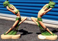1950s 1960s Mid Century Modern Chalkware Figurine Hula Dancer Lamps Tiki Decor | eBay
