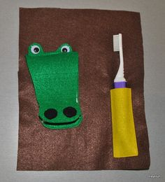This quiet book page allows your little one to practice brushing teeth and can be used to help prepare them for their visit to the dentist. All the