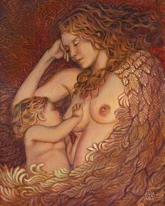 "Emily Balivet crafts intoxicating slices of life, often Celtic and medieval, and always emotive and delicious.  I own this print (""The Nestling - Breast feeding Mother Goddess""), and my only regret is that I did not discover this artist before the original was gone. -- Eve."