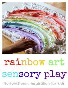 Such hands-on fun! Rainbow art shaving foam sensory play ideas.