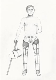 "Laura Stanziola, ""The Devil Appeared with Two Prosthetic Legs,"" drawing for the journal, ""Modern Medieval,"" 2016."