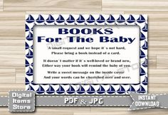 Nautical Bring a Book Instead of a Card Baby - Baby Insert Card Nutical - Insert Card Boat Blue - Invitation Insert Card - INSTANT DOWNLOAD by DigitalitemsShop on Etsy
