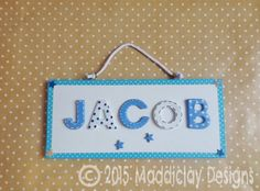 Nursery door plaque sign new baby christening baby shower gift blue and white spots and stars bedroom name plaque door sign nursery home decor personalised gift negle Choice Image
