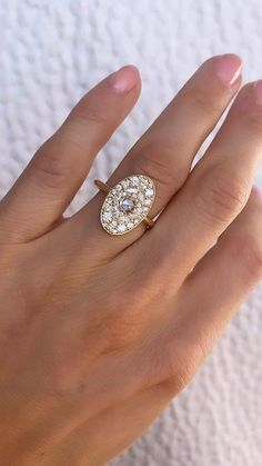 Vintage Inspired Oval Shape Diamond Engagement Ring Marquise Diamond, Diamond Rings, Diamond Engagement Rings, Diamond Cuts, Gold Rings, Antique Rings, Vintage Rings, Vintage Inspired Engagement Rings, Oval Nails