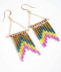 Navajo Boho Beaded Earrings Rose Gold in Chevron Matte by MyrandaE, $15.00