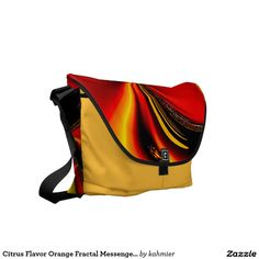 Citrus Flavor Orange Fractal Messenger Bag 15% off #leatherwooddesign #zazzle #fashion
