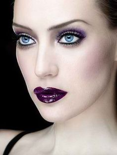Purple lips + eyes