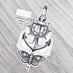 Dotwork anchor lighthouse travel tattoo design - for true travellers only! ;)