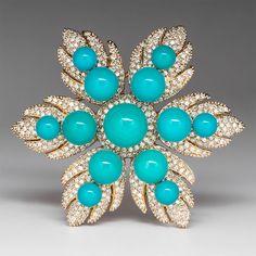 Designer LeVian Natural  Turquoise & Genuine Diamond Brooch Solid 14K Gold #LeVian