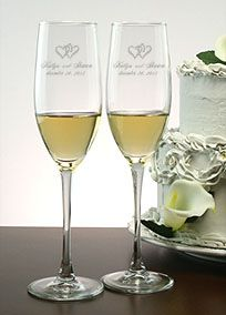 Hearts and weddings go together like Romeo and Juliet. You design your ceremony flutes! Choose from a variety of different heart designs and fonts offered and we will deeply sand blast the combined design on to the flutes by hand. The timeless tradition of toasting flutes for the wedding and for many celebrations afterwards will be honored with these beautiful and memorable keepsakes. Features and Facts:  Set of 2  8 oz. each  Height: 9.5 inches  Diameter at Rim: 2 inches  ...