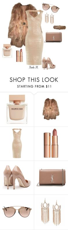 """""""Rose gold evening  style"""" by nandamachado-336 ❤ liked on Polyvore featuring Narciso Rodriguez, Lanvin, Hervé Léger, Charlotte Tilbury, Rupert Sanderson, Yves Saint Laurent, Christian Dior and Judith Ripka"""