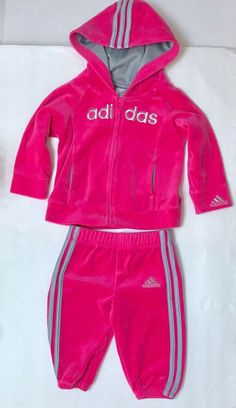4fc7bb4118da7 9 MONTH ADIDAS SWEATSUIT HOODIE   SWEATPANTS 2-piece outfit track suit baby  girl