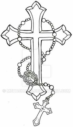 Flower With Roseary Stencils Rosary Tattoocross Tattoo Design within dimensions 1421 X 1610 Cross Tattoo Stencil Designs - There are many styles and Cross Tattoo For Men, Cross Tattoo Designs, Tattoo Design Drawings, Cross Designs, Tattoo Outline Drawing, Rosary Drawing, Cross Drawing, Body Art Tattoos, Sleeve Tattoos