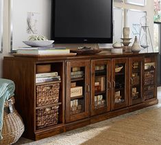 """PRINTER'S LONG LOW MEDIA SUITE 96"""" w x 20"""" d x 30"""" h in Tuscan Chestnut or Artisanal Black. Pottery Barn"""