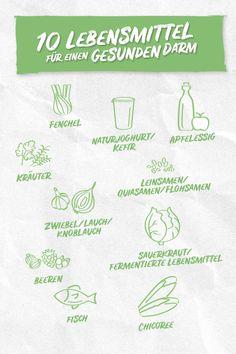Wusstest du, dass unser Darm besonders auf fermentierte Lebensmittel abfährt? So liebt er beispielsweise Sauerkraut oder Naturjoghurt. Auch Beeren, Fisch, Zwiebel und Leinsamen tun unserem Darm gut. Sauerkraut, Healthy Recipes, Vegan, Food, Fermented Foods, Yogurt, Healthy Bodies, Handy Tips, Onions