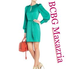 ✨BCBG Maxazria✨ New green dress ✨BCBG Maxazria✨ brand New green dress. Super classy and soft. 100% polyester . Same dress but in blue was last seen at Bloomingdales for $198 which is it's original price. Great deal for a stunning dress BCBGMaxAzria Dresses