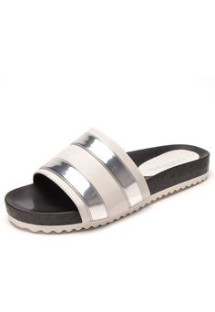 Rasteira DAFITI SHOES Slide Listras Off-White/Prata - Marca DAFITI SHOES