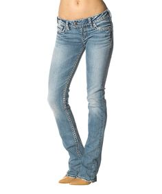 Silver Jeans Co. Indigo Aiko Distressed Mid-Rise Bootcut Jeans ...
