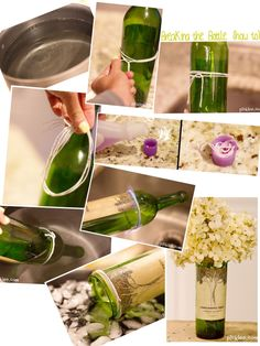 How to cut a wine bottle with household items: What you need:- pot of ice cold water - Cotton String or yarn - Acetone Nail Polish Remover - a match What to do:1. Fill a pot with ice cold water and set to the side.2. Wrap the piece of cotton string or yarn around the wine bottle three times (wrap it around up to 6 times for a thicker bottle), tie it, and slide it ...