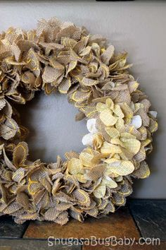 How to Make a Burlap Flower Wreath - looks a bit small for a door but I am sure I can make a bigger one for fall