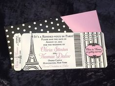 paris invitation images | Paris Rendez Vous Boarding Pass Invitation - Rebecca Aslin - 3173748