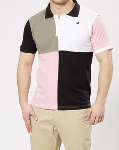 FARU Harlequin Style Polo - Black, White, Beige & Pink.  10% of all sales goes to animal conservation.