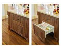 Freezer drawers concealed by beautiful Walnut appliance panels. Crown Point Cabinetry, Kitchen Cart, Home Kitchens, Kitchen Design, Drawers, Kitchen Appliances, Storage, Wood, Freezer
