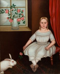 Historically significant folk portrait of Anna Elizabeth Dickinson Aged 12 Philadelphia, Pennsylvania, circa 1854 Oil on canvas, 44 ½ x 36 ¾ inches, in a period veneered frame This remarkable portrait depicts a noted historical figure as a child: Anna Elizabeth Dickinson (1842-1932)