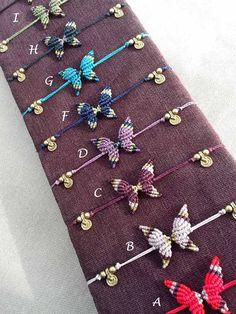 Ana 9 colors to choose Butterfly Kit, Butterfly Bracelet, Macrame Jewelry, Macrame Bracelets, Jewlery, Friendship Bracelet Patterns, Friendship Bracelets, Thread Bracelets, Micro Macramé