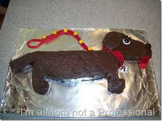 Dachshund cake--well done! Dachshund Cake, Dachshund Gifts, Puppy Birthday, My Birthday Cake, Birthday Stuff, Birthday Parties, Fancy Cakes, Cute Cakes, Fondant Flower Cake