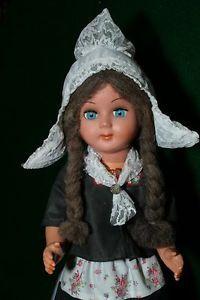 "Vintage Dutch doll 22"" original clothing, wooden clogs"