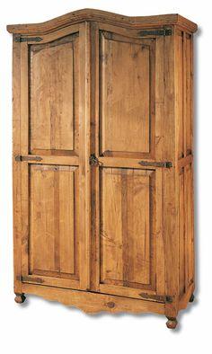 Armario rustico de 2 puertas y 3 cajones en color casta o for Muebles de pino precios