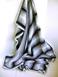 Crocheted Pin Stripe Man Cave Blanket Pattern - Easy Pattern - Great for Beginners