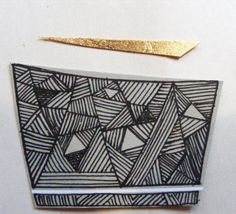 Adding hand drawn line to small abstract collage