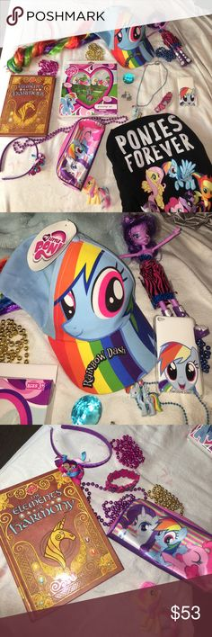 MY LITTLE PONY MEGA BUNDLE 17 ITEMS 💝 T Shirt XL This Bundle Includes: 💘NWT My little pony gift set (2 bows, Ring, & bracelet,) Ponies Forever Child XL T-Shirt, iPod 4 Rainbow Dash Case,  💘NWT The Elements Of Harmony Book, 💘NWT Rainbow Dash Hair Hat, Claire's Rainbow Dash Earrings and Necklace, Blue Gem, Twilight Sparkle Equestria Girls Doll, Rarity Rainbow Dash and Pinkie Pie bag, Fluttershy Figure, Rainbow Dash & Fluttershy Headband, My Little Pony Bracelet, and Purple Pink Blue and…