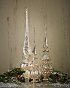 Silvered glass finials add a perfect shine to any holiday table