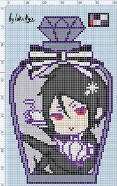 Character in a bottle graphgan Pixel Art Templates, Perler Bead Templates, Pearler Bead Patterns, Perler Patterns, Loom Patterns, Cross Stitching, Cross Stitch Embroidery, Cross Stitch Patterns, Pixel Pattern