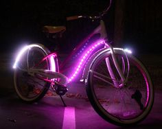 Turn your cruiser bike into a pink night-time flyer! We put 10 feet of form-fitted LED light strips onto the Pink Molly 3-speed cruiser bike. To do this build you only need basic soldering and wiring skills. This project is brought to you by MonkeyLectric and the Monkey Light bike light. More info on how to do this on the Instructables site.