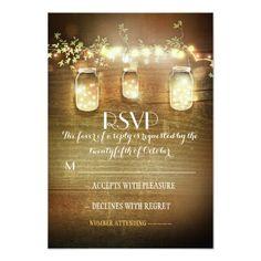 rustic mason jars string lights wedding RSVP cards