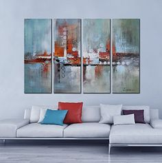 """Hand-Painted """"The Buildings In The Water"""" 4-Piece Gallery-Wrapped Flower Oil Painting On Canvas Artland http://www.amazon.com/dp/B00W4LK7C4/ref=cm_sw_r_pi_dp_wMgPvb100K1HQ"""