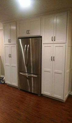 Kitchen Cabinets Around Fridge cabinets flush around fridge - pantry & small appliances | kitchen